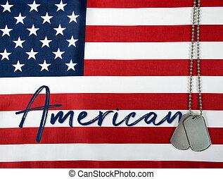 amerikanische , hund, etikette, auf, fahne