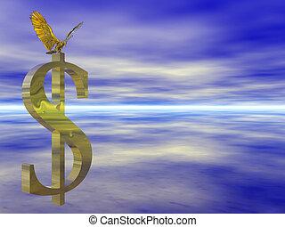 amerikanische , kahler adler, auf, dollar, zeichen.