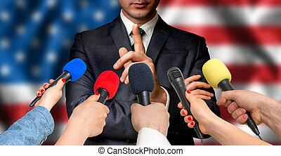 amerikanische , kandidat, spricht, zu, reporter, -, journalismus, begriff