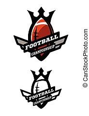 amerikanische , logo., zwei, football., optionen