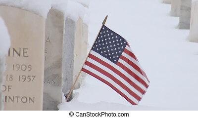 amerikanische markierung, auf, a, grab, stein
