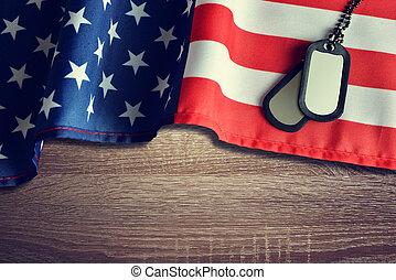 amerikanische markierung, und, soldaten, abzeichen, auf, hölzern, hintergrund.