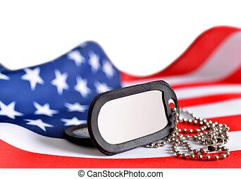 amerikanische markierung, und, soldaten, badges.