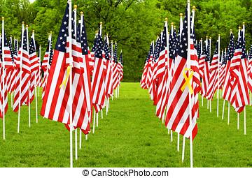 amerikanische markierungsfahnen, und, gelber , bänder