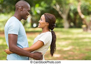 amerikanische, Paar, Liebe, junger, afrikanisch