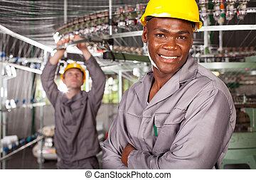 amerikanische , porträt, afrikanisch, gewebe arbeiter