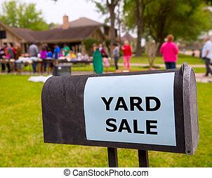 amerikanische , rasen, yard- verkauf, wochenende