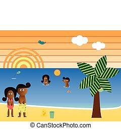 amerikanische , sandstrand, retro, familie, afrikanisch
