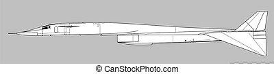amerikanische , vektor, grobdarstellung, nord, xb-70, valkyrie., zeichnung