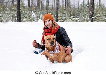 amerikanische , winter, junger, hund, frau, schnee, staffordshire, sie, spielende , terrier, sitzen, forest., schöne , zapfentragend