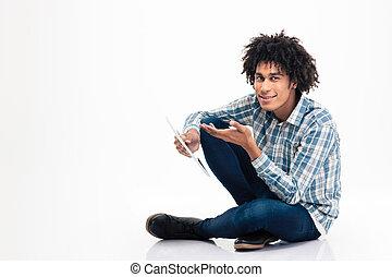 amerikanischer afromann, besitz, tablette, edv