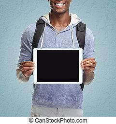 amerikanischer afromann, mit, tablette, computer.