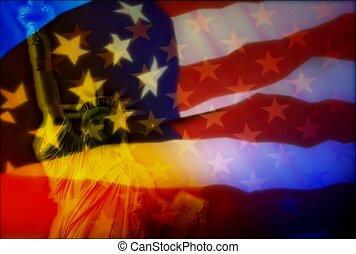 amerikanischer stolz, fahne, national, stern