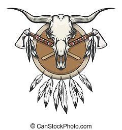 amerikanki, tomahawk, byk, czaszka, krajowiec, emblemat, tarcza