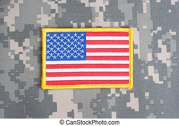amerikansk. flag, på, camouflage, jævn