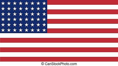 amerikansk. flag, wwi-wwii, (48, stars), lejlighed