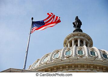 amerikansk flagga, och, kapitolium anläggning, washington...