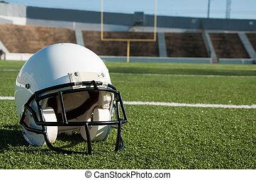 amerikansk fodbold, hjælm, på, felt