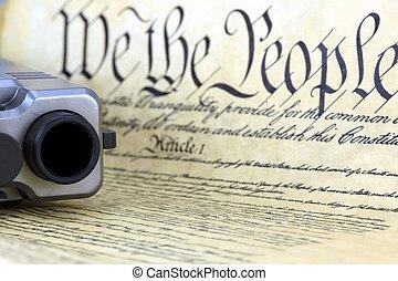 amerikansk. forfatning, hos, hånd kanon