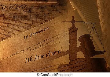 amerikansk. forfatning, og, amendments, hos, gavel