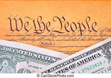 amerikansk. forfatning, og, dollar