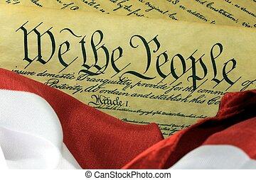 amerikansk. forfatning, -, vi folkene