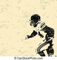 amerikansk fotboll, grunge, affisch