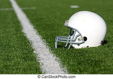 amerikansk fotboll, hjälm, på, fält