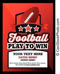 amerikansk fotboll, klubba, händelse, eller, tändsticka, annons, stil, affisch