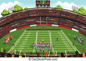 amerikansk fotboll, scen, stadion
