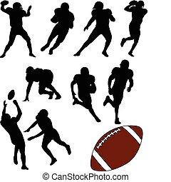 amerikansk fotboll, silhouettes
