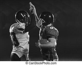amerikansk fotboll, spelaren, fira, efter, göra poäng, a, landning
