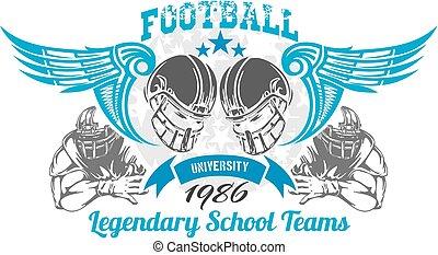 amerikansk fotboll, -, vektor, illustration, för, t-shirt