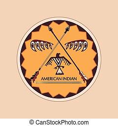 amerikansk indian, symboler, och, etiketter
