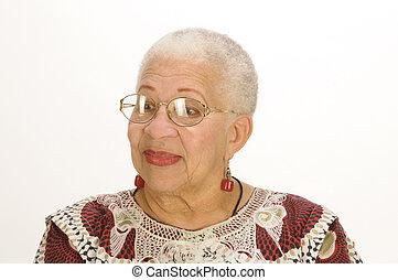 amerikansk kvinna, äldre, afrikansk