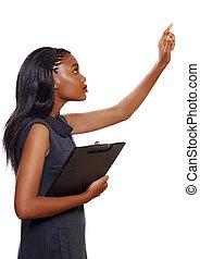 amerikansk kvinna, affär, afrikansk