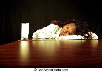 amerikansk kvinna, afro-, mjölk