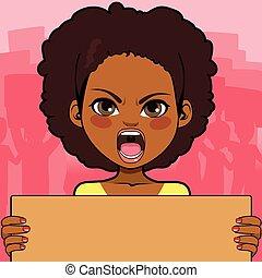 amerikansk kvinna, protestera, afrikansk
