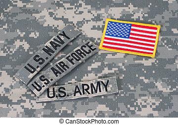 amerikansk militär, begrepp, på, kamouflage, likformig