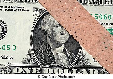 amerikansk penge, hos, en, klæbende, banage, -, ond., økonomi