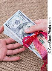 amerikansk sedel, dollar, bundet, knippe, band