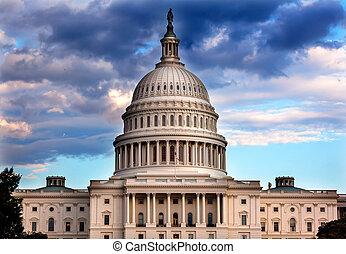 amerikanskt. capitolium, kuppel, huse, i, congress,...