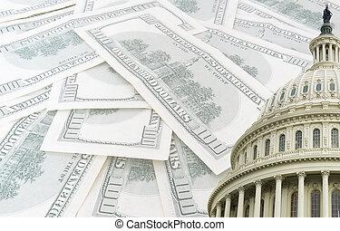 amerikanskt. capitolium, på, 100, os dollare, banknotes,...