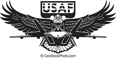 amerikanskt flygvapen, -, militär, design.