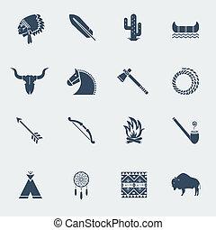 amerykańscy indianie, isoated, krajowiec, ikony