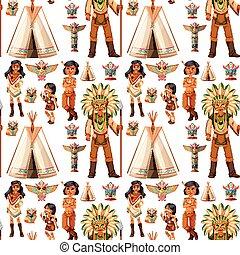 amerykańscy indianie, seamless, tło, krajowiec
