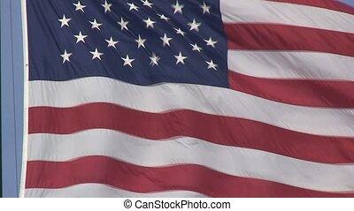 amerykańska bandera, fałdzisty, w wietrze