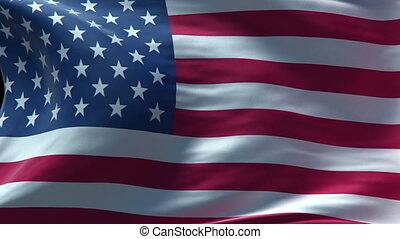 amerykańska bandera, falować, pętla