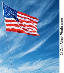 amerykańska bandera, falować, w, błękitne niebo, pionowy, wizerunek