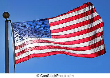 amerykańska bandera, falować, w, błękitny, jasne niebo